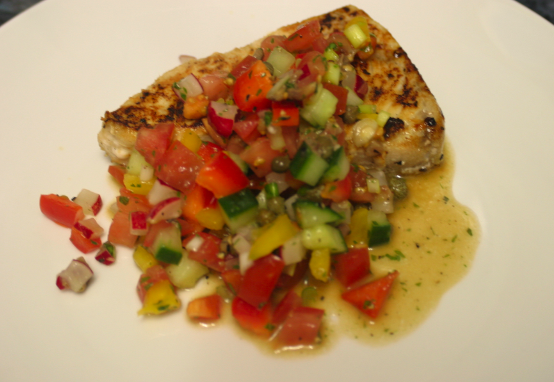 cucumber and tomato salsa with swordfish | What I ate last ...