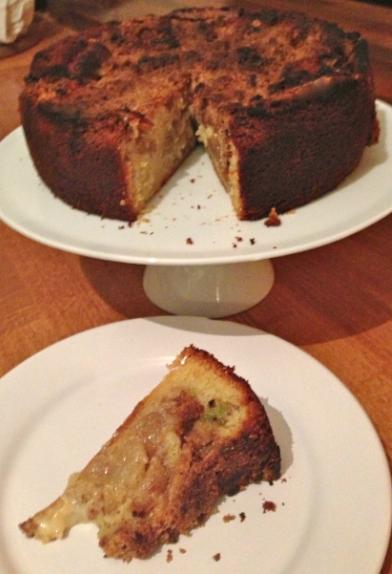 Apple, rhubarb & custard crumble cake