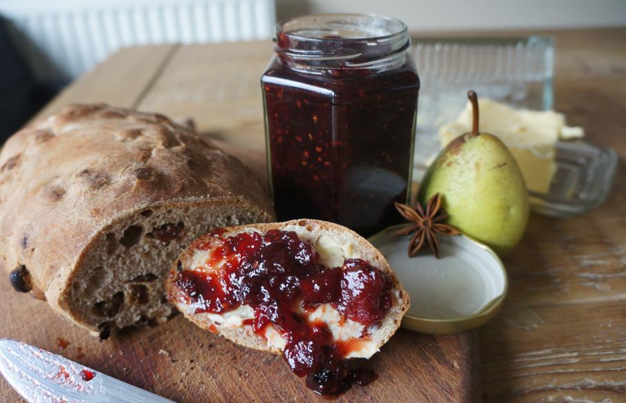 spiced pear & blackberry jam