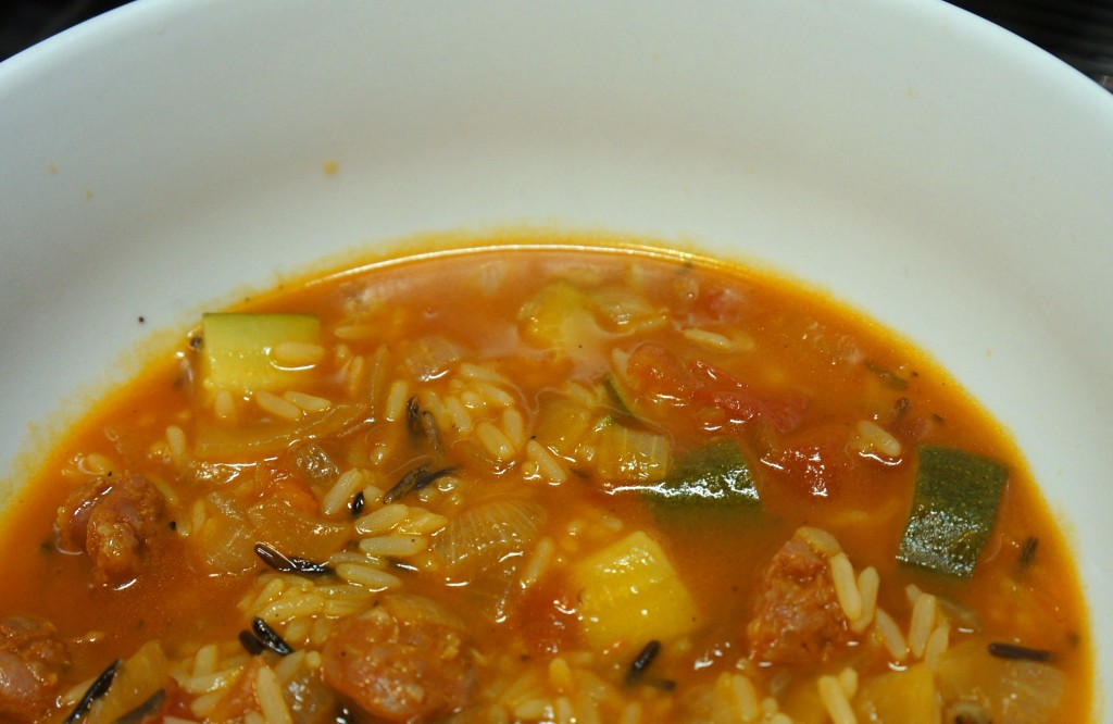 wild rice and chorizo soup