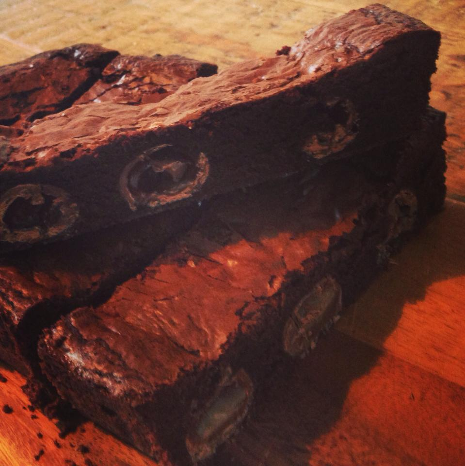 Double chocolate and caramel egg brownies recipe