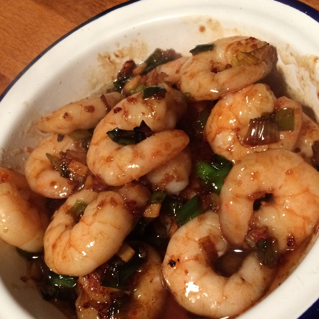sticky garlic prawns