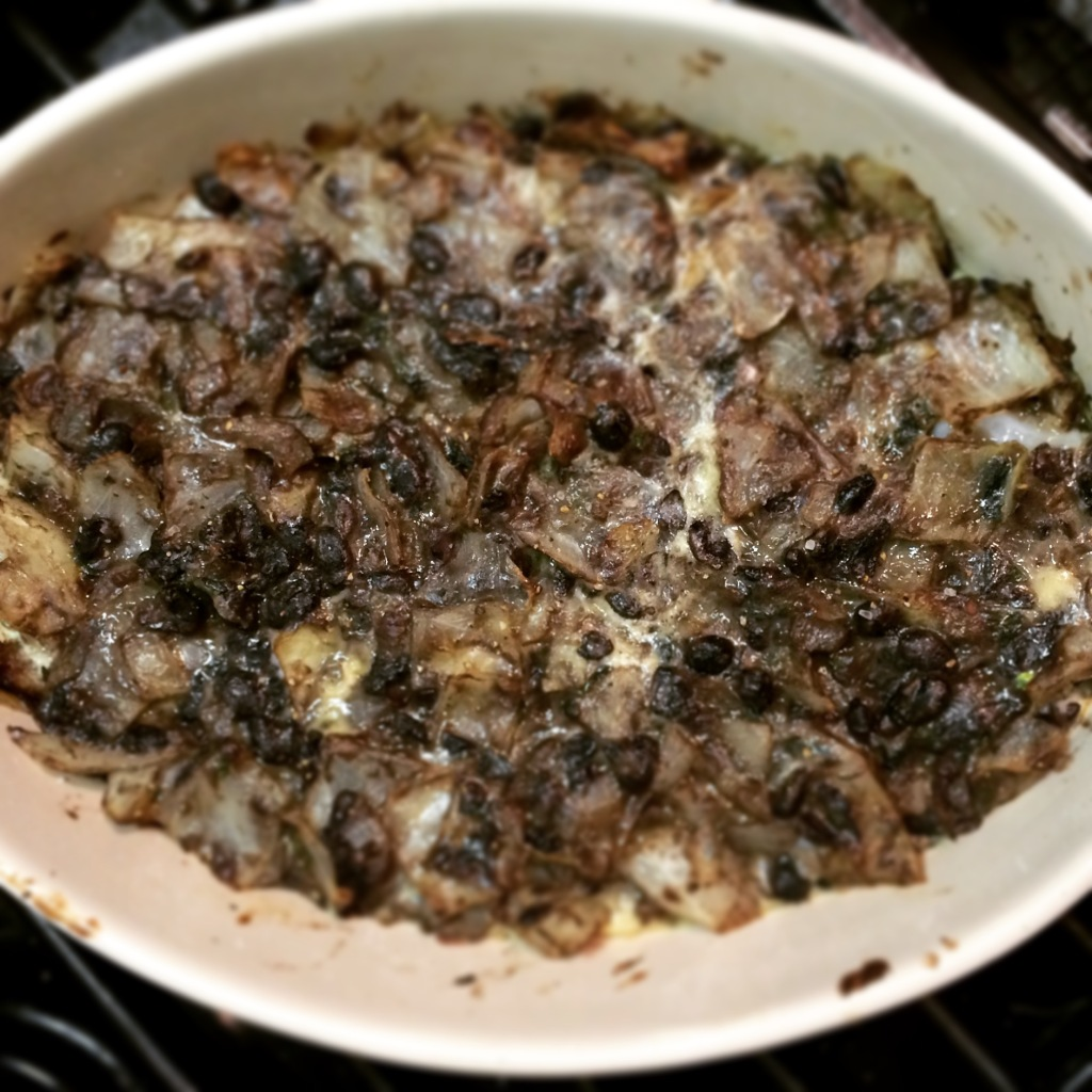 black bean, cabbage and onion bake