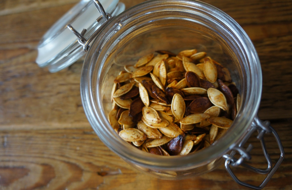 jar of spiced roasted pumpkin seeds